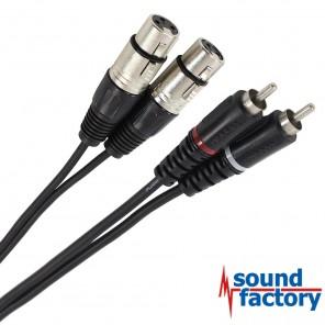 PLUGGER Kabel 2x cinch auf 2x XLR female, 3m