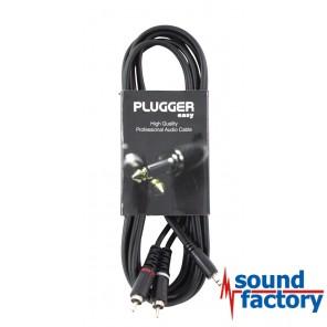 PLUGGER Kabel Miniklinke stereo, 2x cinch, 3m